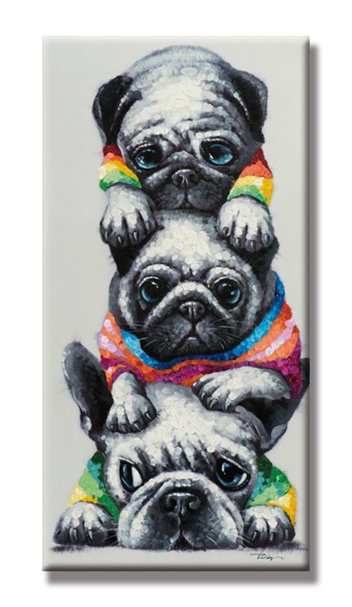 Cute Bulldogs' Pyramid Funny Animals Oil Paintings 100% Handpainted Abstract Dog Canvas Painting Wall Art Artwork Contemporary Picture Home Decor 18''x36'' (No Frame,45x90cm)