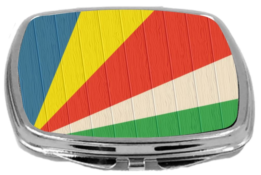 Rikki Knight Compact Mirror on Distressed Wood Design, Seychelles Flag, 3 Ounce