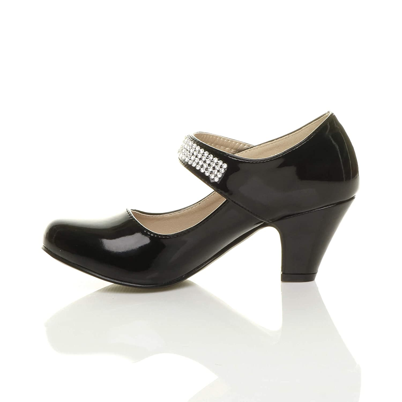 4349d0dd8a0 Girls kids childrens low heel party wedding mary jane style hook   loop  sandals school shoes size Ajvani