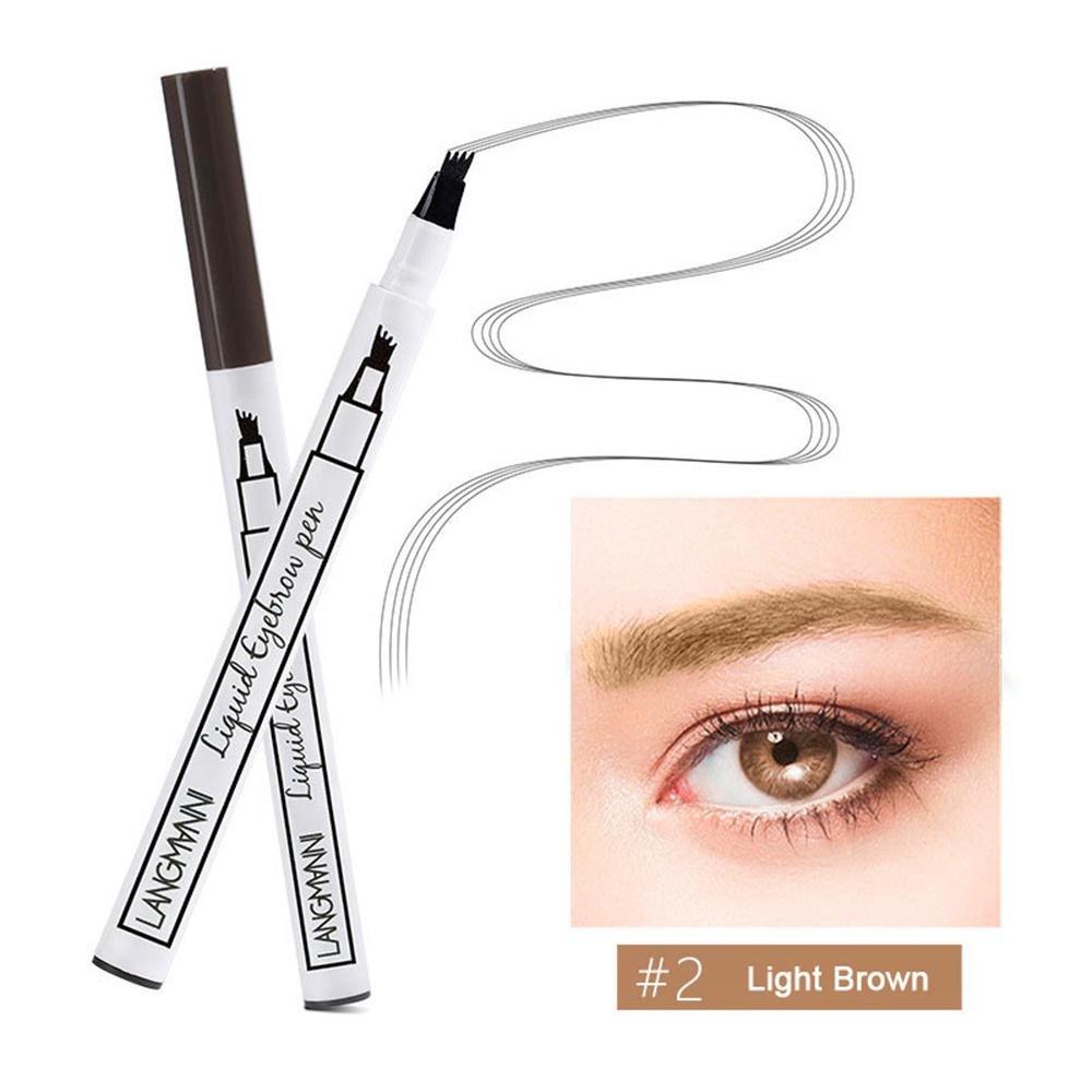 KOBWA Lápiz de Cejas con 4 Puntas, Natural Tattoo Eyebrow Pen, Waterproof Brow Gel para Maquillaje de Ojos