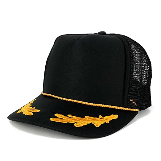 Armycrew Polyester Foam Front Oak Leaves High Crown Gold Style Trucker Mesh  Back Cap - Black 2c629c751684