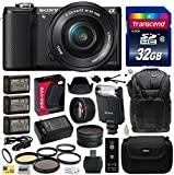 Sony Alpha A5000 20.1 MP Interchangeable Mirrorless Lens Camera with 16-50mm OSS Lens ILCE5000L (Black) with Advanced Accessories Bundle Kit includes Sony HVL-F20M External Flash + 32GB Class 10 SDHC Memory Card + x3 Replacement (1200mAh) NP-FW50 Battery