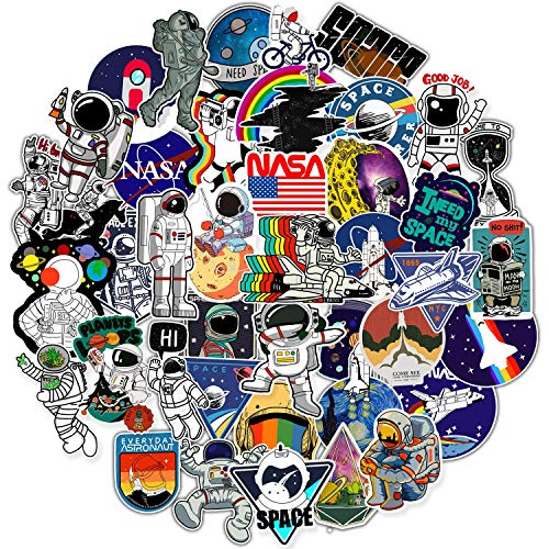 NASA Stickers for Laptop, Space Explorer Galaxy Vinyl Sticker for Water Bottle Hydro Flask Car Bumper Skateboard Luggage, Spaceman Spacecraft Universe Planet Graffiti Decals for Vsco Girl Boy, 50 Pack (Gaming Skateboard)