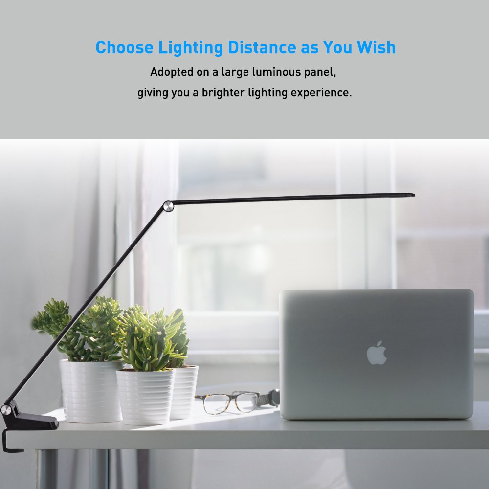 LED Desk Lamp with USB Charging Port, Dimmable Ultrathin Metal Table Lamp with Clamp, 2 in 1 Adjustable Reading Light with Touch Control & Timer for Bedroom/Office/Living room/Study, Back to School by ACG-INC (Image #6)