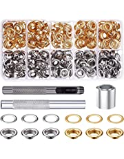 Lasport Grommet Tool Kit, 120 Sets 1/2 Inch Grommets Eyelets with 3Pcs Installation Tools for Fabric, Canvas, Curtain, Clothing, Leather, Two Colors Included Gold and Silver