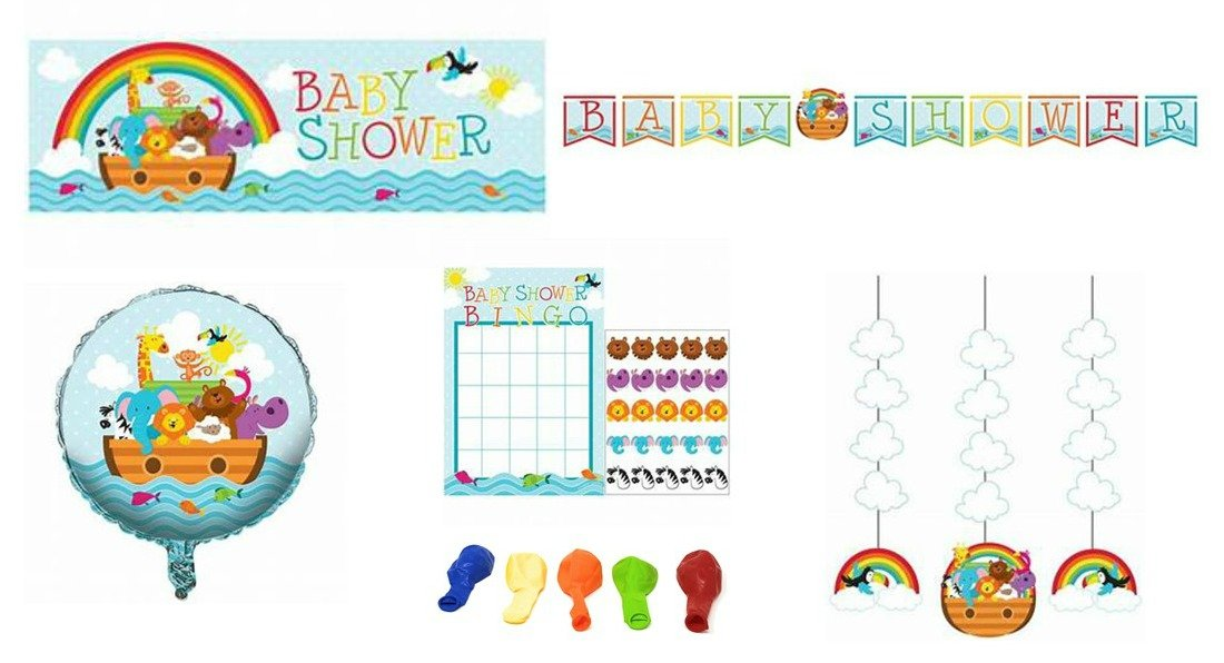 Noahs Ark Animals Baby Shower Party Supplies and Decorations: Banners, Balloons, Hanging Cutouts, and Bingo 5-Piece Bundle