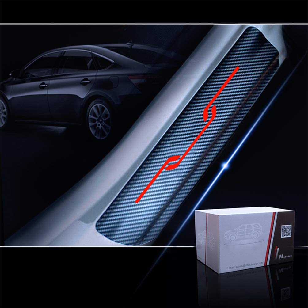 4D Carbon Fiber Car Door Sill Protector Scuff Plate Guard Stickers for Toyota Yaris Corolla Camry RAV4 Highlander Avalon Prius Mirai Sienna Tacoma Tundra 4-Runner Sequoia Land Cruiser 4Pcs Blue