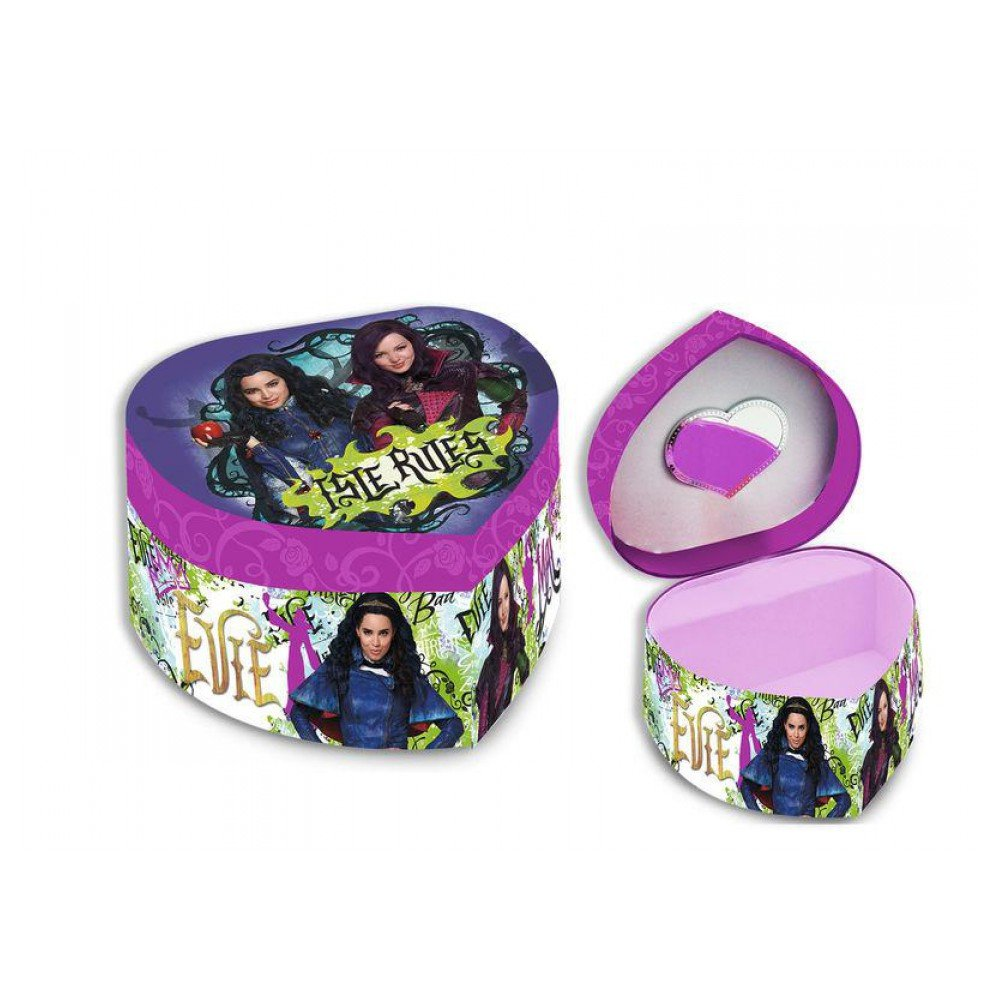 Kids Euroswan - Disney WD16754 Jewelry heart-shaped box with mirror of Descendants by Kids Euroswan