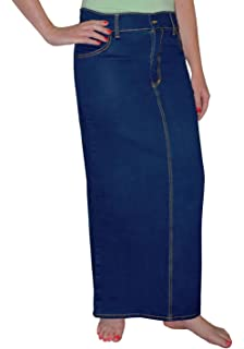 ee08d77a77 Kosher Casual Women's Modest Long Straight Denim Pencil Skirt With Back Slit