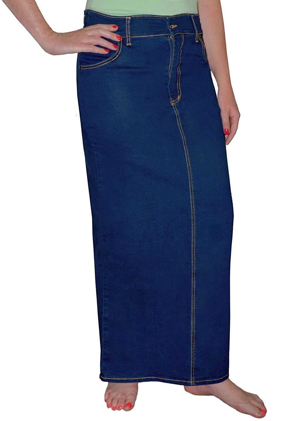 42f42d1386 Kosher Casual Women's Modest Long Straight Stretch Denim Skirt with Covered  Back Slit at Amazon Women's Clothing store:
