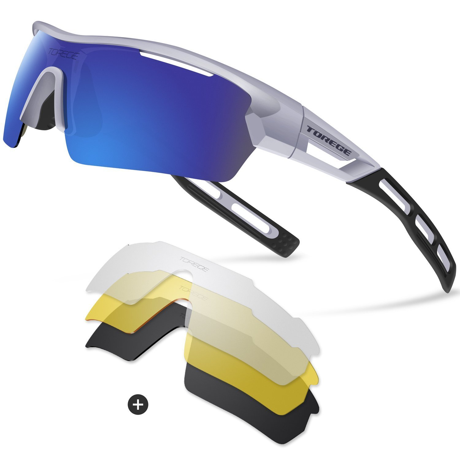 Torege Polarized Sports Sunglasses for Men Women Cycling Running Driving TR033 (Sliver&Black&Blue) by TOREGE