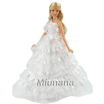 Miunana 1 Vestido de Novia con Multicapa Ropa Princesa Vestir Boda para Barbie Muñeca - Blanco