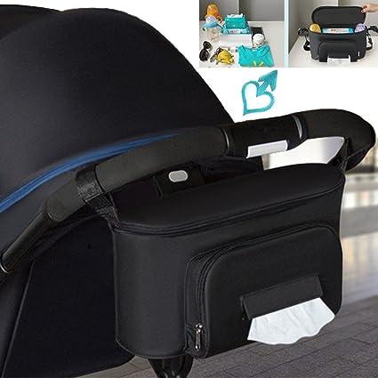 Bolsos Carro Bebé Universal Gran Capacidad 600D Oxford Bolsas Organizador Carro Silla Paseo Negro