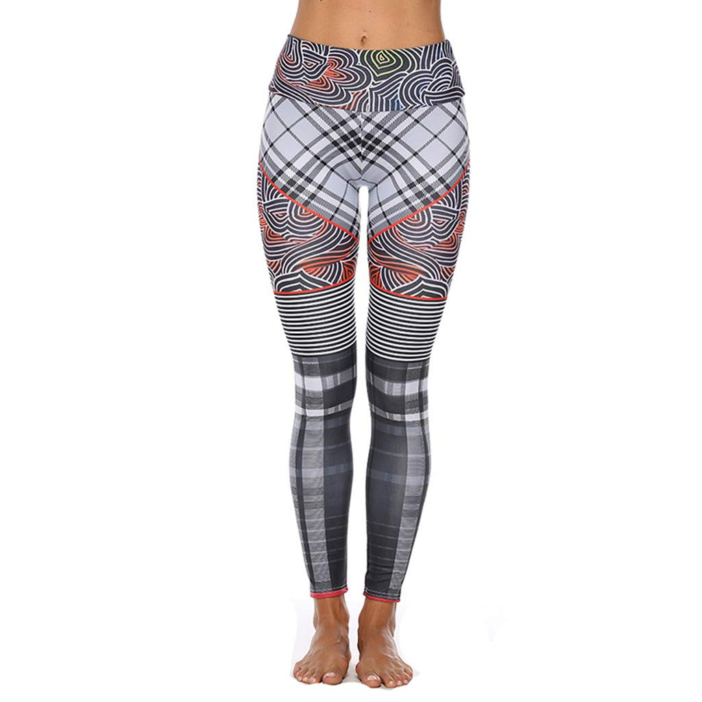 Jiayit Yoga Pants for Women Womens Yoga Workout Gym Print Sports Running Jogging Pants Leggings Fitness Stretch Trousers