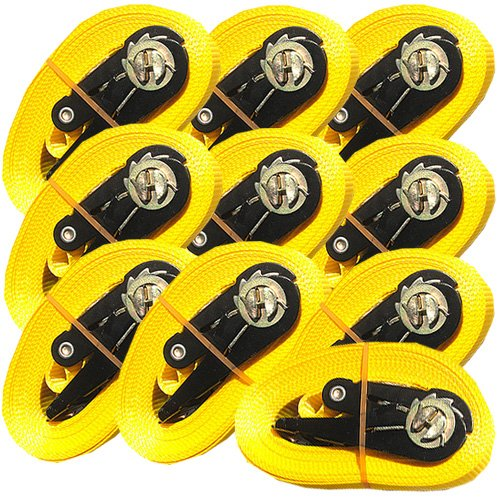 10 Correas para Carga con de trinquete 6 m, Carga m/áxima de 0,8 t, Norma EN-12195-2
