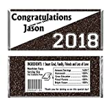 Black Graduation Glitter Design Party Personalized Custom Chocolate Candy Bar WRAPPERS ONLY Set of 24