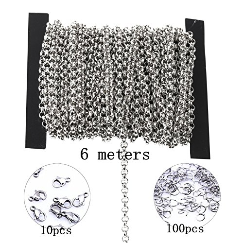 3.2mm circular Stainless Steel Cable Chain Link in Bulk for Necklace Jewelry Making 6meters with jump ring clasp
