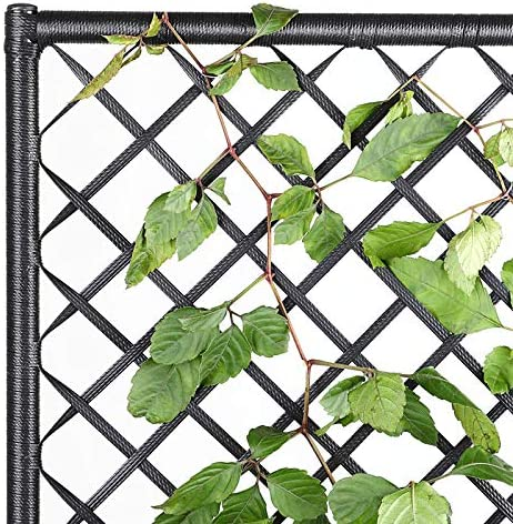 Casaria Blumenkasten mit Rankgitter Rankhilfe aus handgewobenem Polyrattangeflecht 3 Innent/öpfe herausnehmbar Blumentopf Schwarz