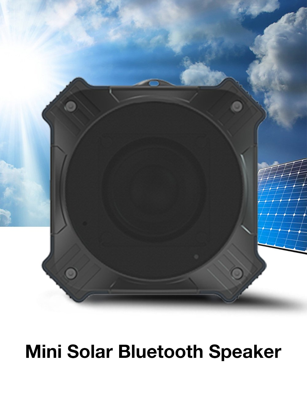 Solar Powered Bluetooth Speaker, IPX6 Waterproof Outdoor Portable Wireless Speaker with 20-Hour Playtime, HD Audio, Built-in Mic, 5W Enhanced Bass Sound. Perfect for iPhone, Samsung and More