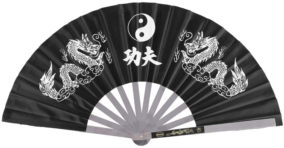 Tai Chi Fan, Fan de Kung Fu de Artes Marciales de China Abanico de Acero Inoxidable Abanico de Tai Chi Portátil Escrito Kung Fu Equipo de Entrenamiento de Kung Fu de Estilo Chino