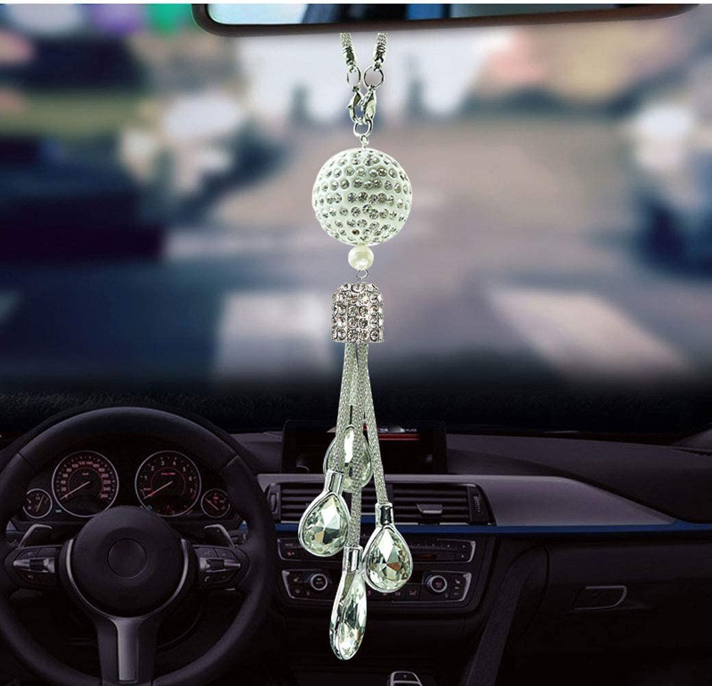 White SZWGMY Crystal Car Pendant Hanging Ornament Interior Accessories For Auto Rear View Mirror Hanging Decoration Home Decoration