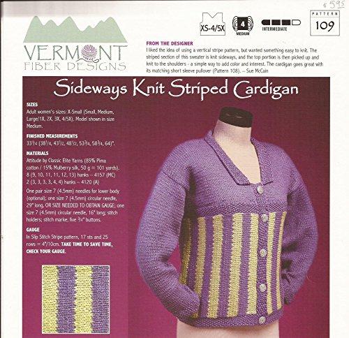 (Sideways Knit Striped Cardigan - Vermont Fiber Designs Knitting Pattern #109 - XS-4/5X - Pattern Only)