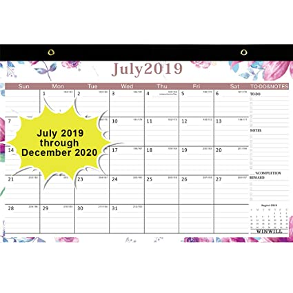 2020 July Through December Calendar Amazon.: 2019 Desk Calendar July 2019   December 2020 17