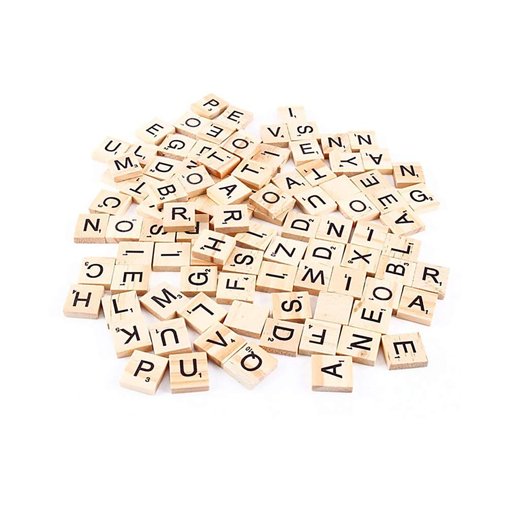 Wooden Letter Scrabble, 100pcs Black Letters & Numbers Wood English Words for Crafts Manual Educational Toys HOBOYER