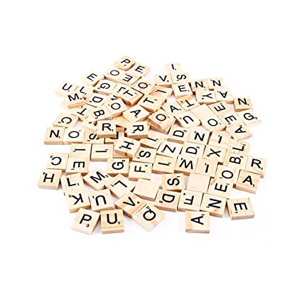 100pcs Wooden Scrabble Tiles Letters Numbers For Crafts Wood Alphabet Decor Toy