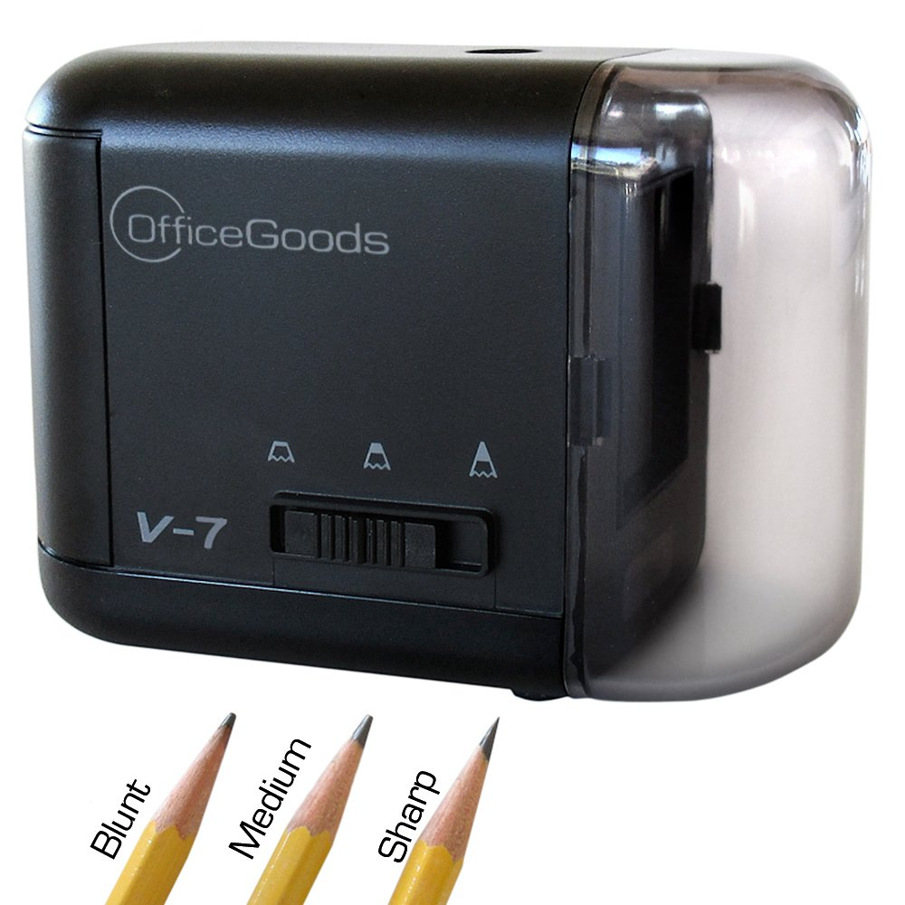 OfficeGoods Electric & Battery Operated Pencil Sharpener - Compact, Reliable, Fast & Quiet - for Home, Office & School - It Sharpens Evenly Every Time to Give You The Perfect Point (Black) by OfficeGoods