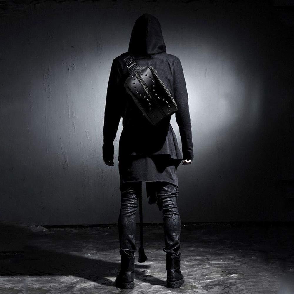 diagonal peque/ño AmzGxp Drag/ón 3D patr/ón de un hombro bolsa de pecho PU punk rock negro bolso de la cintura mujer deportes al aire libre con doble bolsa de drag/ón remaches de metal C/óm cuero