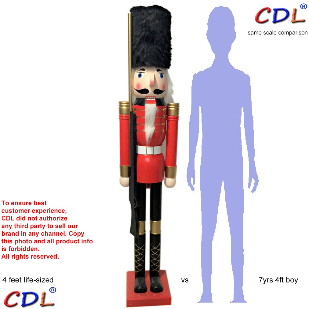 CDL 48'' 4ft tall life-size large/giant Christmas wooden nutcracker black fur hat soldier ornament on stand carry ceremonial gun for indoor outdoor Xmas/event/ceremonies/commercial decoration K07