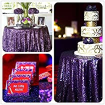 "B-COOL High-Density 50"" Round Dark Purple Sequin Tablecloth, Wedding Table Cloth, Sparkle Sequin Linens"
