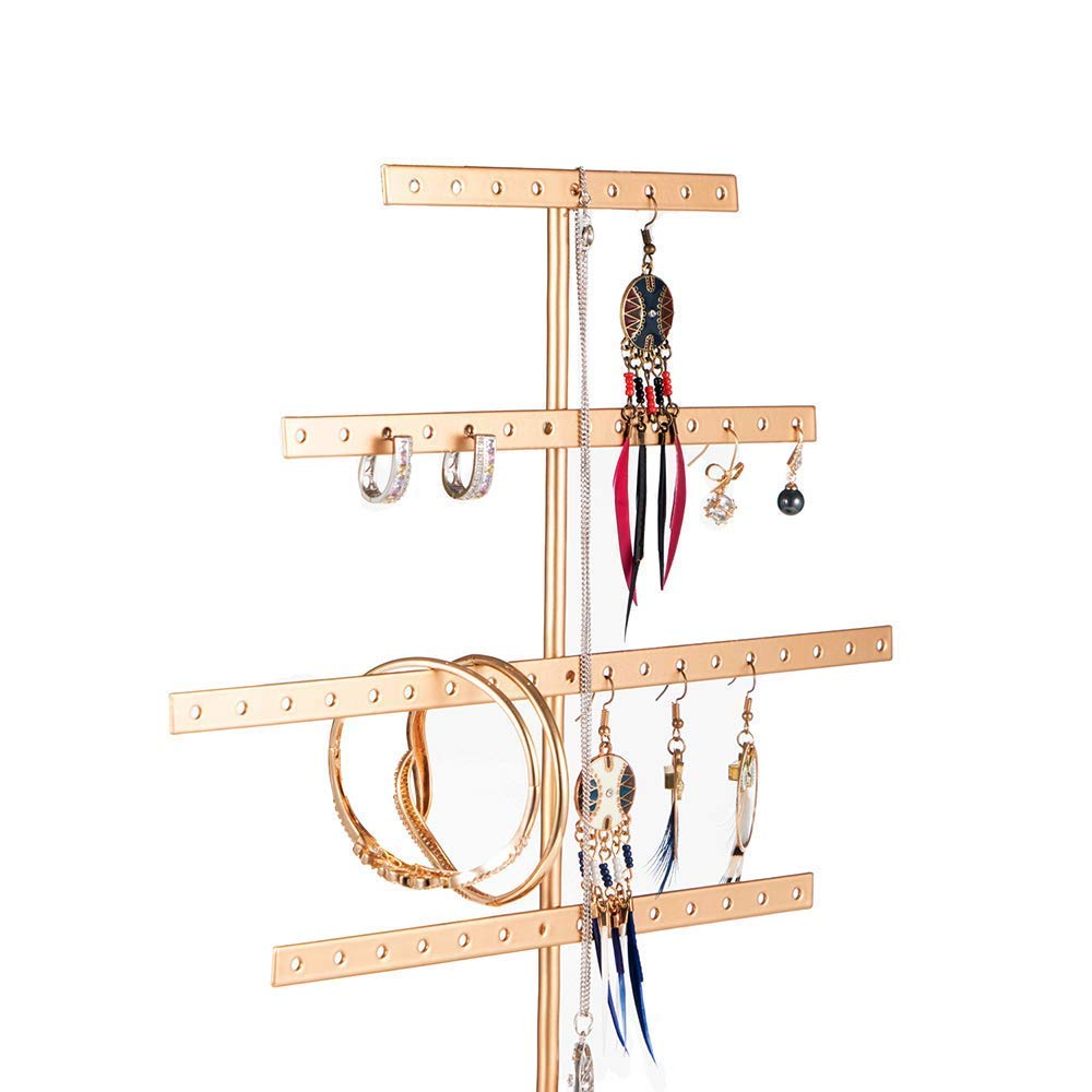 QILICHZ Antique Bronze Metal Jewelry Tower Tree Display Stands with Tray for Ring Earring Hanging Organizer