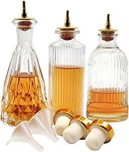 Bitters Bottle - Set of 3 Glass Bitter Bottle with Dash Top, Great Bottle For Your Cocktail - KJPT-1