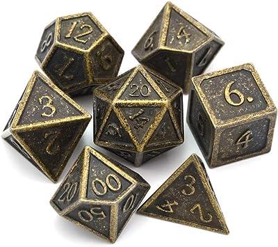 BBGoo Dados De rol Retro Gold DND Metal Dice Incluye Dice Bag para Dungeons and Dragons RPG Juegos de Mesa D4 D6 D8 D10 (0-9, 00-90) D12 D20: Amazon.es: Juguetes y juegos