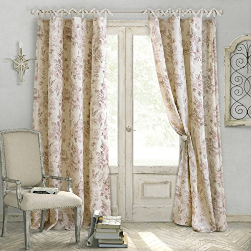 Elrene Home Fashions Country Chic Linen Non-Adjustable Tie Top Single Panel Window Curtain Drape, 52 inch Wide x 84 inch Long, Rose (1 Panel)