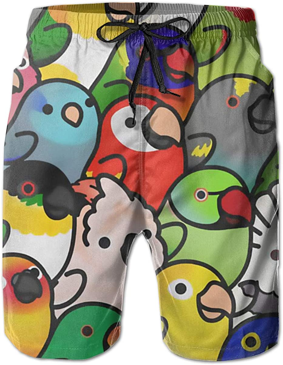 Mens Parrots Lovebird Macaw Quick Dry Short Swim Trunks Slim Fit Surf Beach Shorts with Pockets for Mens