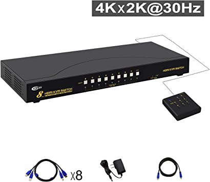 Windows CKLau 4Kx2K Ultra HD 2 Port HDMI Cables KVM Switch Control 2 Computers//DVR//NVR with USB 2.0 Hub and Audio Support Keyboard Mouse Switching for Linux Unix Mac