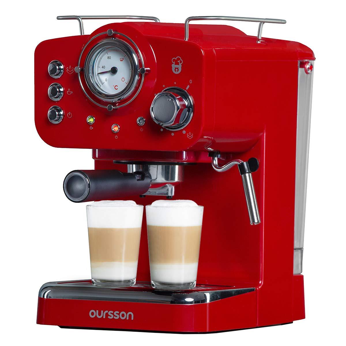 Oursson Cafetera Cappuccino y Café con 15 bares de presión, Tanque de agua de 1.5 Litros, 900 Vatios, Color rojo, EM1500/RD: Amazon.es: Hogar