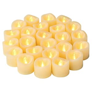 Led Flameless Flickering Votive Tea Lights Candles Battery Powered Set of 24 / Realistic Outdoor Electric Led Fake Tealight Candles Bulk for Wedding Decor, Party Decorations (Batteries Included)