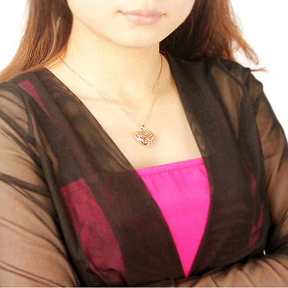 Noopvan Women Gold & Silver Crystal Rhinestones Heart Pendant Jewelry Necklace (Silver)