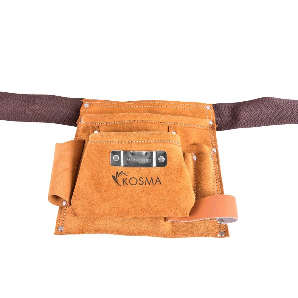 Kosma 5 Pocket D.I.Y. Carpintero delantal de cuero | electricista | Funda de cinturó n de herramientas | Bolsa de uñ as Montstar Global KG-27017