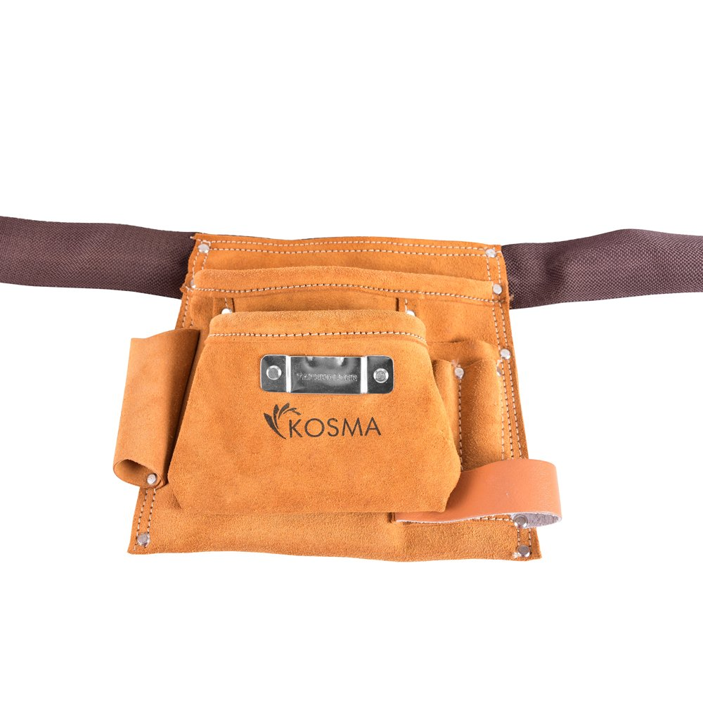 Kosma 5 Pocket D.I.Y. Carpenter Leather Apron | Electrician Pouch | Tool Belt | Nail Pouch