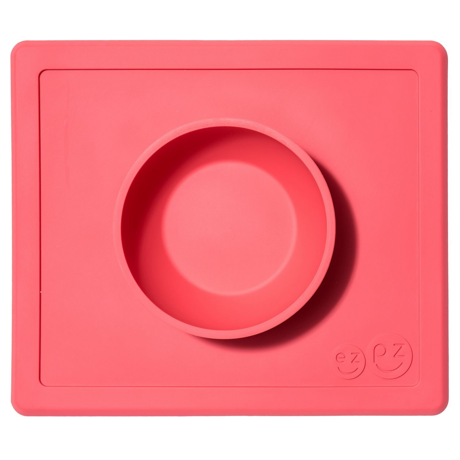 ezpz Happy Bowl - One-piece silicone placemat + bowl (Coral) LMHBC004