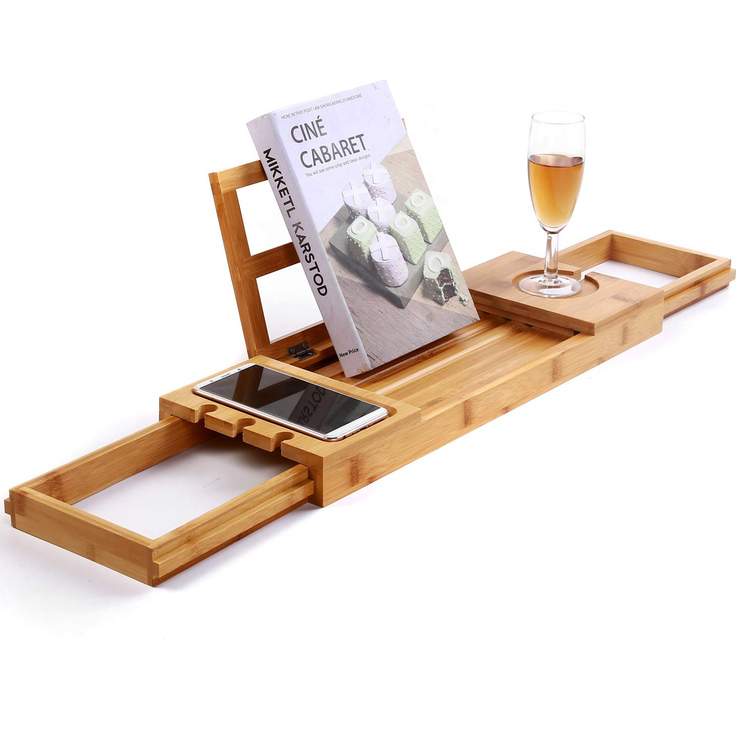 Utoplike Unique Bamboo Bathtub Tray Wooden Bath Caddy Tray with Extending Arms, Spa Relaxing Bath Organizer Tray Holds Books/Tablets/ Cell Phone/Towels/Foods SafeHouseware