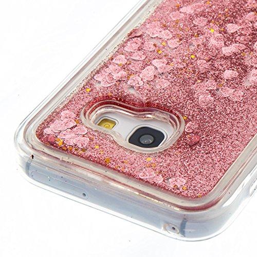Funda Galaxy A5 2017 Anfire Carcasa Glitter Silicona Líquido Arenas Movedizas para Samsung Galaxy A5 2017 Bling Brillo Estrellas TPU Case Transparente Flotante Moviendo Lentejuela Cubierta Caja Sparkl Oro rosa