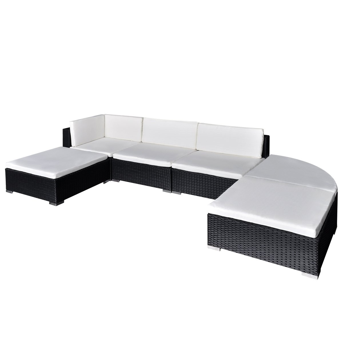 vidaXL Gartenmöbel Poly Rattan Set Lounge Sitzgruppe Schwarz 16-teilig