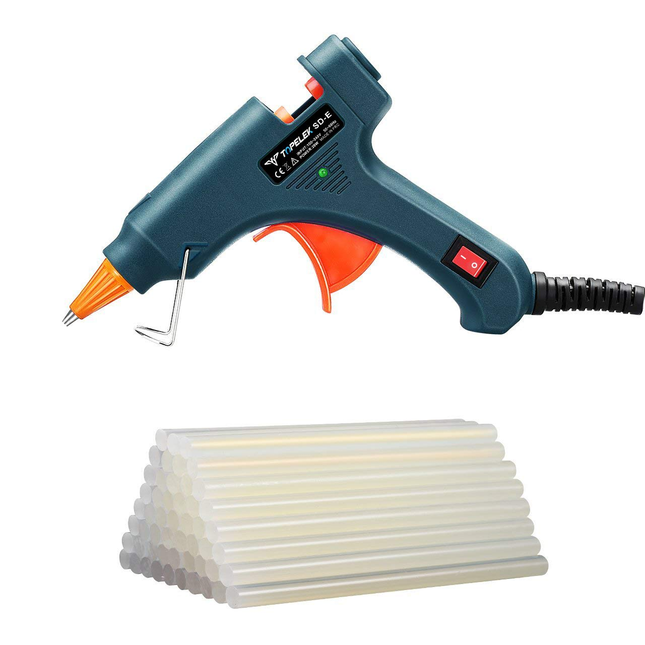 Hot Glue Gun, TopElek Glue Gun Kit with 50pcs Glue Sticks, High Temperature Melting Glue Gun for DIY Small Projects, Arts and Crafts, Home Quick Repairs,Artistic Creation(20 Watts, Green)