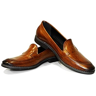 Modello Mocca - Handmade Italian Mens Brown Moccasins Loafers - Cowhide Hand Painted Leather - Slip-On